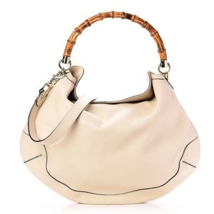 GUCCI 'Peggy' Cream Leather Hobo Bag. Authentic Bamboo Handle. 100% AUTHENTIC